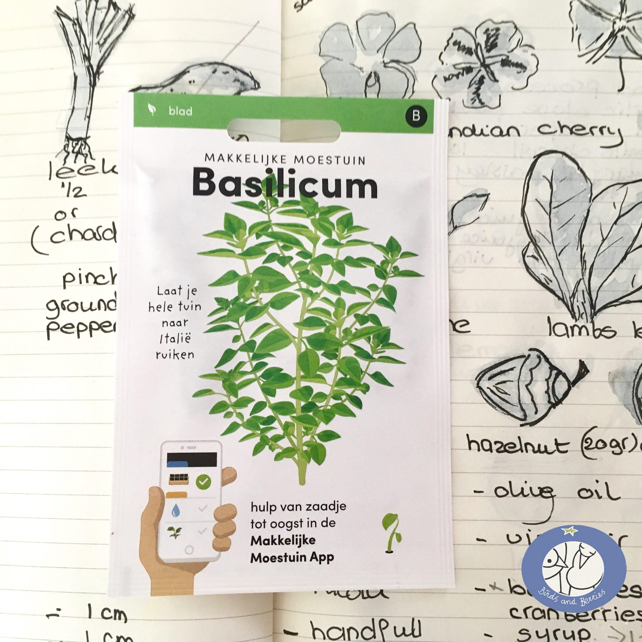 Product afbeelding los zakje Basilicum uit Basis serie voor webshop Birds and Berries België