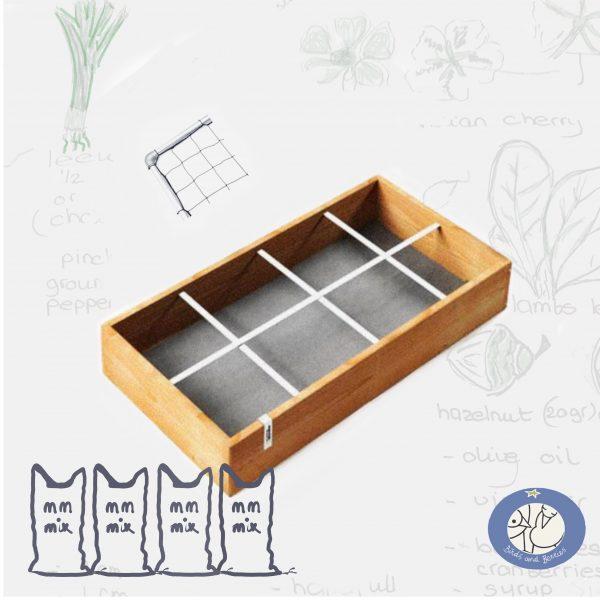 Product kleine moestuinbak MM original met klimrek met mix voor webshop Birds and Berries