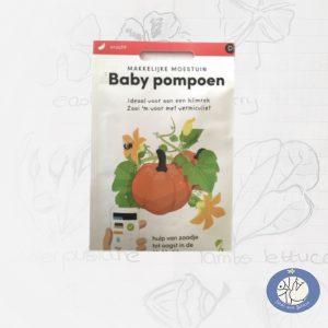 Product afbeelding met info van Baby Pompoen zaden van het merk Makkelijke Moestuin voor website Birds and Berries België