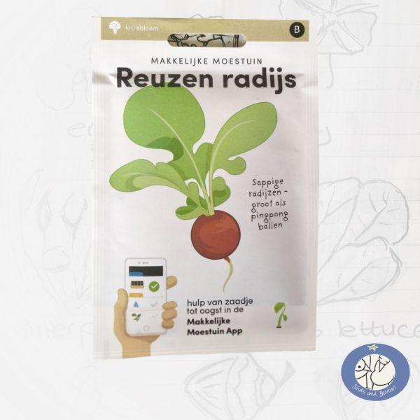 Product afbeelding ID 2594 met informatie over Reuzen Radijs zaden van het merk Makkelijke Moestuin. Met de bestelmogelijkheden voor de website Birds and Berries België