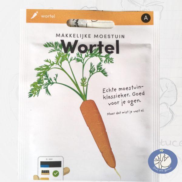 Product afbeelding los zakje Wortel zaden Makkelijke Moestuin voor website Birds and Berries België