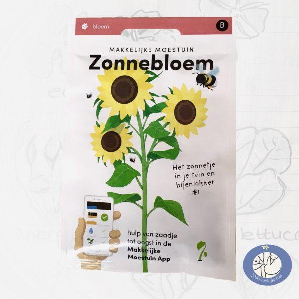 Product afbeelding los zakje zaden zonnebloem Seizoens Makkelijke Moestuin voor website Birds and Berries België