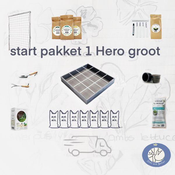 Product afbeelding start pakket 1 Hero Makkelijke Moestuin, groot met klimrek bij Birds and Berries