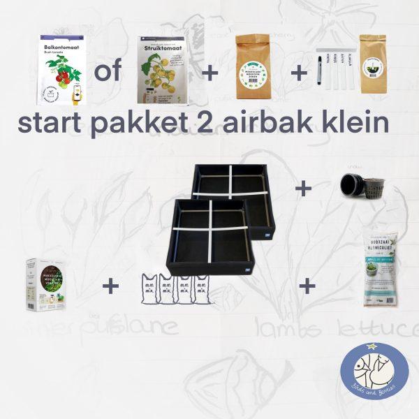 Product afbeelding startpakket 2 met twee stuks kleine airbak Makkelijke Moestuin. Variatie op startpakket 1 van de Makkelijke Moestuin. Bij Birds and Berries in Bonheiden België