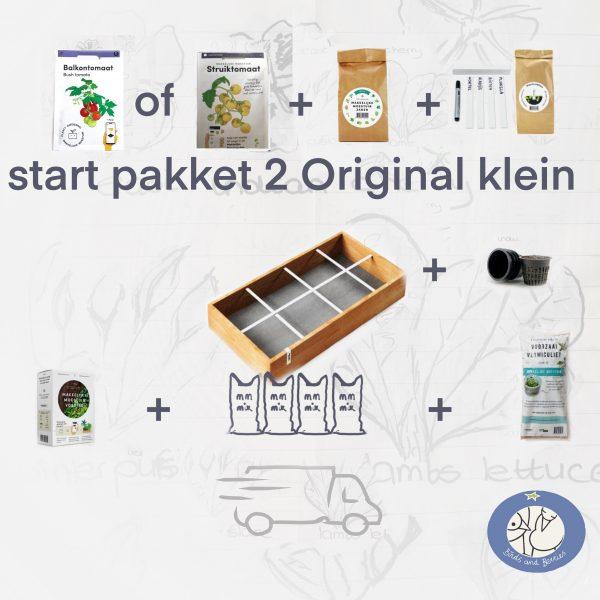 Product afbeelding startpakket 2 met een kleine bak MM Original. Variatie op startpakket 1 van de Makkelijke Moestuin. Bij Birds and Berries