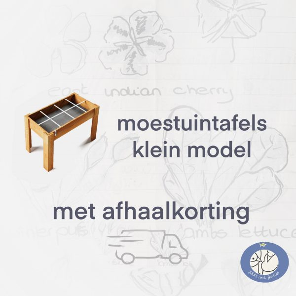 Product moestuintafels klein model van de Makkelijke Moestuin met afhaalkorting bij Birds and Berries België